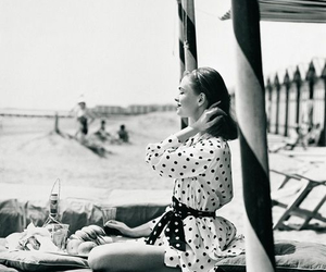 black and white, beach, and vintage image