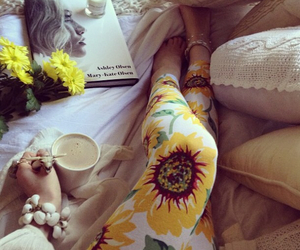 sunflower, flowers, and leggings image