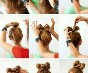 bow, hairstyle, and hair image