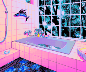 pink, pixel, and bathroom image