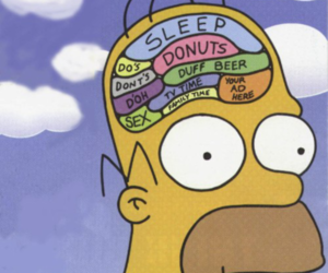 brain, homer, and lol image
