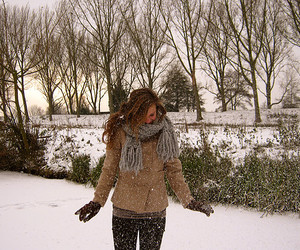 brunette, girl, and snow image
