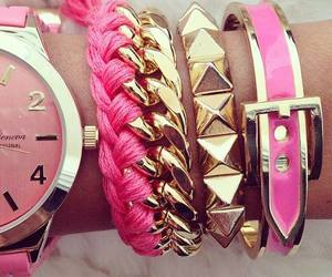 pink, bracelet, and watch image