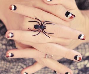nail polish, spider ring, and spider image