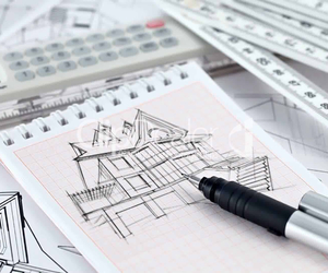 architecture, drawing, and house image