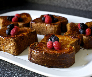 food, french toast, and fruit image