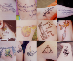 harry potter, tattoo, and deathly hallows image