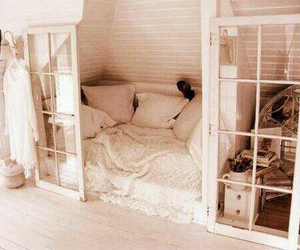 bed, doors, and room image