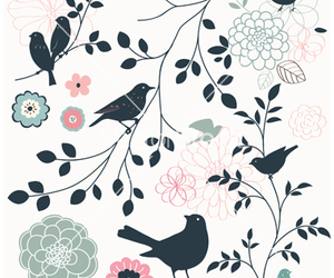 bird, branch, and floral image