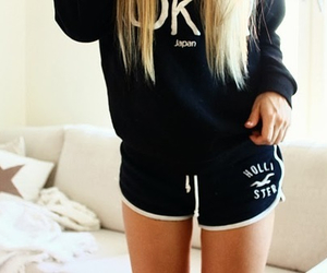 hollister, blonde, and shorts image