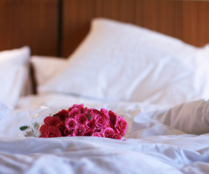 bed, flowers, and rose image
