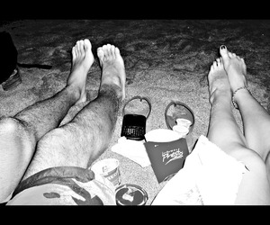 beach, chips, and black and white image