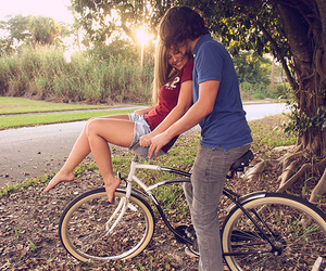 love, couple, and bike image