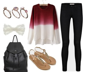 black, red sweater, and sandals image