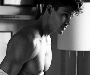 black and white, boys, and Hot image