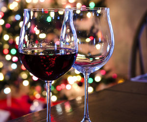 christmas, lights, and red wine image