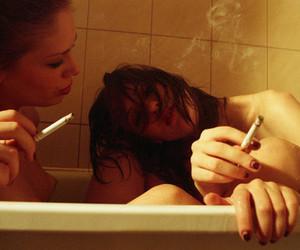bath, cigarrette, and naked image