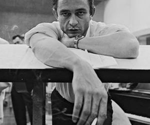 Johnny Cash and black and white image