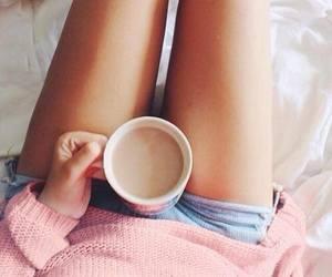 girl, coffee, and pink image