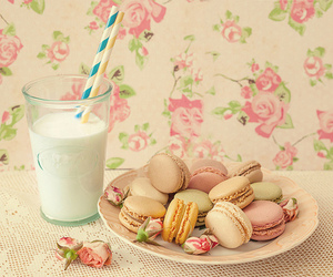 milk, macaroons, and pink image
