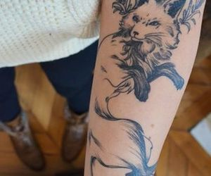 tattoo, fox, and ink image