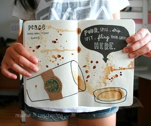 starbucks, wreck this journal, and coffee image