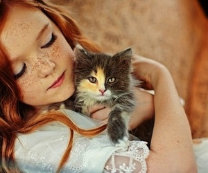 cat, child, and kitty image