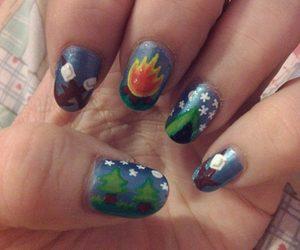 camp, nail art, and three image