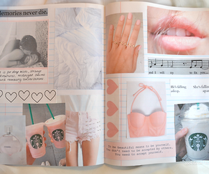 pink, book, and starbucks image