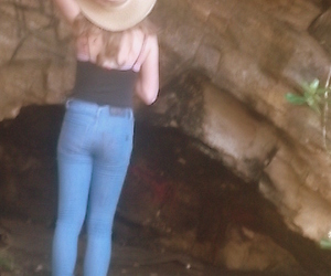 girl, hat, and jeans image