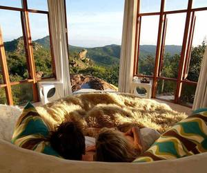 couple, view, and bed image
