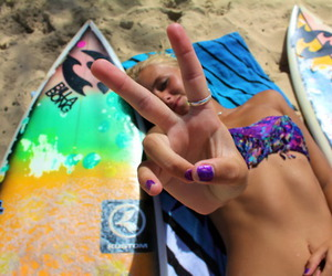 beach, blond, and love image