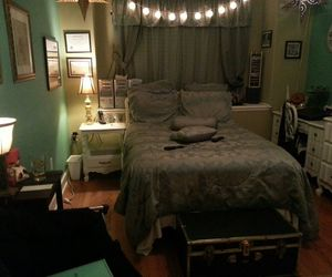 bed, bedroom, and college image