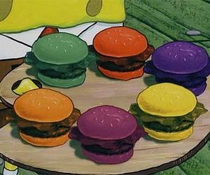 spongebob, colors, and burger image