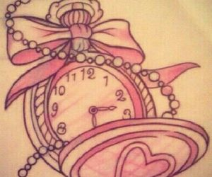 clock, pink, and pocketwatch image