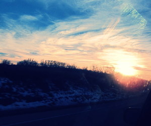 clouds, Road Trip, and sun image