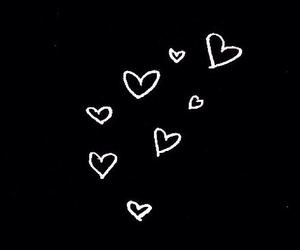 black, hearts, and background image