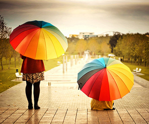 umbrella, rain, and rainbow image