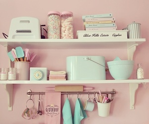 pink, kitchen, and pastel image
