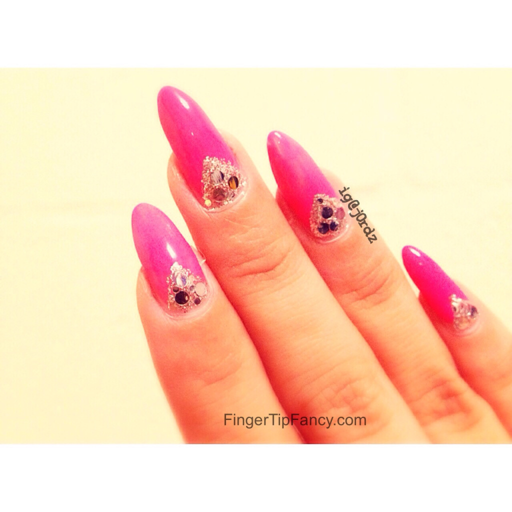 Pink with silver V deep french nails : FingerTip Fancy