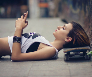 girl, skateboard, and skate image