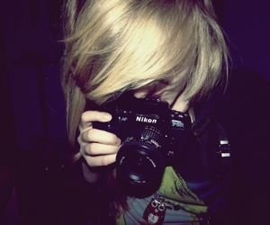 blonde, down, and camera image