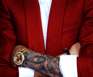 tattoo, justin bieber, and red image