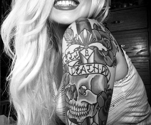 tattoo, girl, and smile image