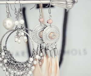 earrings, jewelry, and feather image