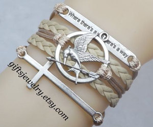 cross, couple bracelet, and hipster jewelry image