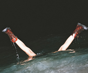water, grunge, and boots image