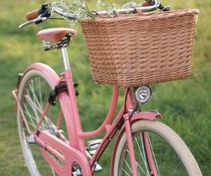 pink, bike, and flowers image