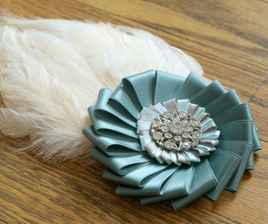 blue, brooch, and fascinator image