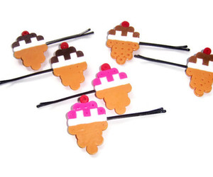 hair accessories, hair pins, and ice cream image